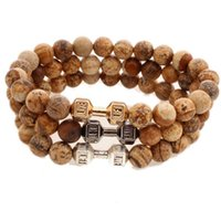 barbell pictures - Natural Picture Jasper Stone Beads Metal Fitness Barbell Dumbbell Bracelet