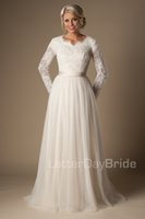 Wholesale Ivory A line Beaded Lace Tulle Modest Wedding Dresses With Long Sleeves Scalloped Neck Buttons Up Back Full Sleeves Long Bridal Gowns Modest