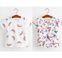 Wholesale New summer girl s short sleeve T shirt cute birds flowers and rainbow printing children casual pullover shirts