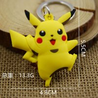 Wholesale 6 Styles Cartoon Pikachu pvc Action Figures Poke Anime Keychain Keyring Pendant Halloween christmas gifts
