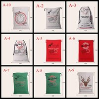 Wholesale 2016 hot style DHL Free Large Canvas Monogrammable Santa Claus Drawstring Bag With Reindeers Monogramable Christmas Gifts Sack Bags