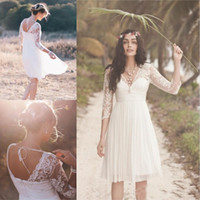 Wholesale 2018 Boho Ivory Short Wedding Dresses Sheer Sleeves V Neck Pleats Lace Chiffon Bridal Gown Knee Length Beach Garden