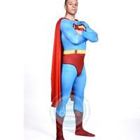 al por mayor traje de los hombres de holloween-Venta al por mayor-2016 Nueva Holloween vestuario para hombres y mujeres traje de Superman Lycra Spandex de Navidad del vestido de lujo en venta