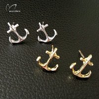 anchor post earrings - Fashion Fine Jewelry Gold Plated Designer Earrings Simple Nautical Anchor Post Earring For Women And Men