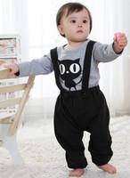 Cheap Infant Toddler Suspender Pants Match Cute Cartoon T-shirt 2pcs Clothing Sets 2 Colors Design Comfortable Wear