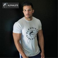 Wholesale ALPHALETE New Quality Cotton Outdoor Shirt Men Short Sleeve Causal Male Tees Summer Tops Running T shirt Hiking For Man