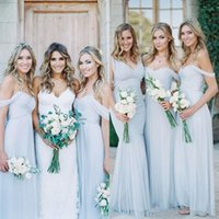 Cheap Cheap Bridesmaids Dresses A Line Ruched Chiffon Pale Light Blue Bridesmaid Gowns Off the Shoulder Sweetheart Neckline Floor Length