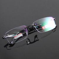Wholesale Reading Glasses Eyeglasses Frame Rimless Eyewear Fashion Black Presbyopia Hyperopia Long Distance Vision