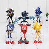 Wholesale 6pcs set cm Sonic The Hedgehog Sonic Shadow Tails Knuckles PVC Action Figure Collectible Model Toys