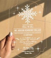 Wholesale Customized Engraved Love Birds Invitation Cards With Envelope Acrylic wedding invitation cards free ship ZD067B