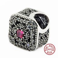 bead treasures brand - 2016 Fairytale Treasure Cerise Crystal Clear CZ Sterling Silver Bead Fit Pandora Bracelet Fashion Jewelry DIY Charm Brand