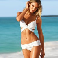 Wholesale Suit Sexy Solid Color Triangle Bikini Gather Together Fission Swimming Dress High Waisted Bathing Cover Up Tankinis Monokini Swimwear