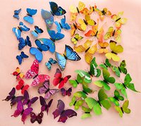 american static - New Design sets D Butterfly Wall Stickers Butterflies Docors Art DIY Decorations Paper mixed colors