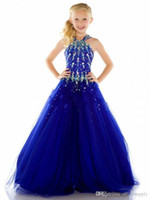 Wholesale Sexy Girls Dressed Princesses - 2016 New Tulle Royal Blue Cheap Beauty Pageant Dresses for Girls Formal Long Sexy Girl Dress For Weddings Custom Size