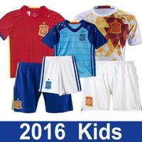 Wholesale 2016 Espana Camiseta de futbol Kids Spain kids Soccer Jersey Sergio SILVA Ramos FABREGAS INIESTA youth Equipacion Futbol