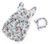 baby onesie sets - baby girls blue floral romper set summer ins cotton rompers kids flower headbands fashion onesie boutique outfits jumpsuits