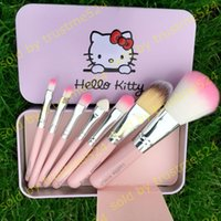 Wholesale Hot Selling Hello Kitty Make Up Cosmetic Brush Kit Makeup Brushes Pink Toiletry Beauty Appliances Cute Style to choose DHL
