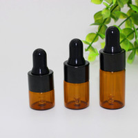 Wholesale ml ml ml Amber glass dropper bottles w Black cap Essential oil bottle Small Perfume vials Sampling Storage JF