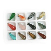 Wholesale Fashion Assorted Natural Stone Pendants Point Pendants teardrop Charms pendants For women Jewelry