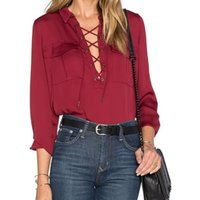 american red wine brands - OA58 American Fashion Women Sweet Turn down Collar Bow Pockets Long Blouse Wine Red Long Sleeve Casual Brand Tops Shirts