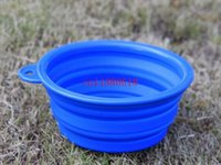 Wholesale 50pcs Portable Dog Cat Pet Collapsible Travel Feeding Feeder Foldable Folding Silicone Bowl colors