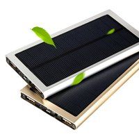 Wholesale Ultra thin Solar Power Bank mAh External Battery Portable Universal Cell Phone PowerBank Chargers For iphone Android Samsung Smartphone
