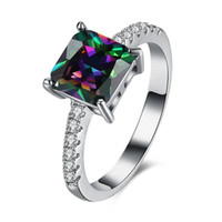 Wholesale Newly style shining colorful square cubic zircona women finger ring white gold plated women ball ring