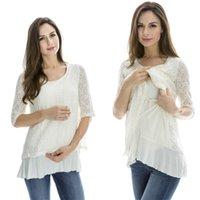 venda por atacado roupas de grávida-Renda 3/4 Maternidade Maternidade Luva Maternidade Tops camisa de maternidade Top de enfermagem A amamentação tops gravidez Roupas para mulheres grávidas