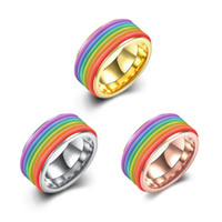 classic men women rainbow colorful titanium stainless steel ring gold imitation platinum and rose gold plated jewelry wedding rings gifts - Rainbow Wedding Rings
