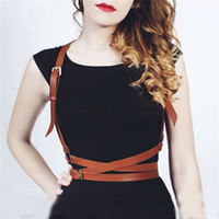 Cheap Wholesale-Gothic harness 100% handmade body bondage leather Suspenders waist belts for women CROSS female belts