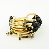 Wholesale Famous Design Nickle Free Bracelet With Gold Plated Copper Tube PU Leather Bracelet With Starfish Pendant Fashion Handmade Jewelry