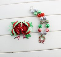 beaded christmas wreaths - 2016 factory christmas theme Christmas wreath necklace and hairbow set ren and green chevron hairbow with clip and dot hairbow