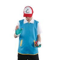 ash pokemon gloves - 2016 Hot Halloween Cosplay Poke Go High Quality Blue Cosplay Costume Jacket Gloves Hat Ash Ketchum Costume for Male Female CS004 SET