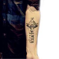 armed cross tattoos - Temporary tattoos large cross eye arm fake transfer tattoo stickers hot sexy men women spray waterproof designs