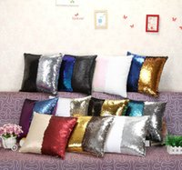 Wholesale Sequin Pillow Case Sequin Pillowslip Tone Color Pillow Case Reversible Cushion Cover Home Sofa Car Decor Mermaid Pillow Covers B1136