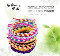 access hands - 40pcs bag yihua mix color Hair Access triangle weave braid hand braided hair circle hair rope hand ring rubber band with retail packaging
