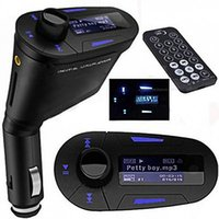 Wholesale 3 mm Car Auto Kit Socket In Car Blue LCD FM Transmitter Music Audio Stereo Radio Modulator With USB MMC TF Slot Remote Control