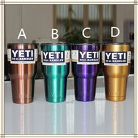 Wholesale Purple Yeti Coolers Rambler oz Cups Powder Coated Stainless Steel Tumbler With Crystal Clear Lids In Stock