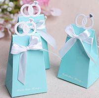 Wholesale Lake blue diamond ring box Wedding Bridal Favors Candy Party Boxes Favor Wedding Supplies
