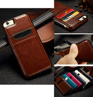 PU Leather TPU Credit ID Card Slot Crazy Horse Back Case pour iPhone 5 5S SE 6 6S 7 Plus iPhone7 Samsung Galaxy S6 S7 Edge Note 4 Note5
