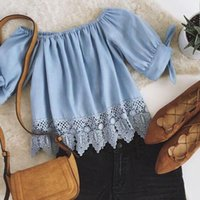 off the shoulder tops - 2016063007 summer new fashion women off the shoulder tops casual short sleeve shirts loose lace blouses bow tops