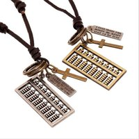 abacus singapore - New Hot Vintage Abacus Pendant Necklace Handmade Leather Rope Accessories fei