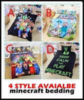 Wholesale drop ship hot in stock Styles Minecraft Bedding Children D Bedding Sets Cartoon My Bedding minecraft Steve Kids Bed Sets creeper