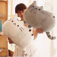 Cheap 50pcs CCA3811 High Quality 40*30cm Cartoon Biscuit Cat Stuffed Toy Kids Birthday Gift Cute Cat Pillow Animal Doll Big Tail Plush Cat Toy