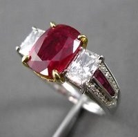 antique ruby diamond ring - ANTIQUE PLATINUM KT Y GOLD CT DIAMOND RUBY STONE ENGAGEMENT RING E F