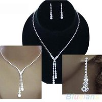 Wholesale Wedding Bridal Clear Crystal Rhinestone Drop Necklace Earrings Jewelry Set Gift S2