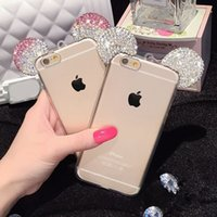 ear covers - High Quality D Mickey Mouse Rhinestone Ears Soft Transparent TPU Protect Phone Covers Case For Iphone s s plus