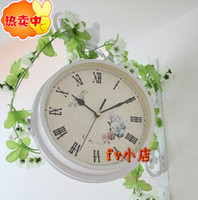 Wholesale free ship double side white bird garden Two sided Side Hanging European Classic Iron Process Creative Art Wall Clocks