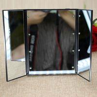 beauty mirror with lights - Rectangle Make Up LED Mirror Beauty Heart Shape LED Comistic Foldable Mirror with Light Portable Compact Size for Make up Artist