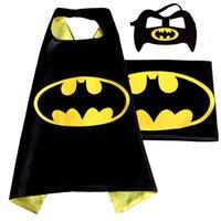 Wholesale 2016 Double Side kids Superhero Cape Batman Ironman Ninja Turtles Spiderman Captain America Supergirl capes with mask Xmas Gifts CM